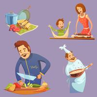Cozinhar Retro Cartoon Icon Set