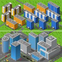 City Buildings 2 Banners Isometric Composition