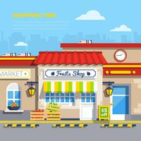 Concepto de diseño plano de tiendas de calle