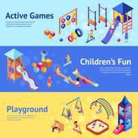 Playground isometric banners vector
