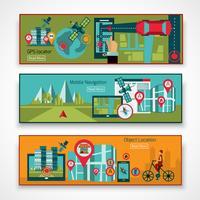 Conjunto de banners de navegación GPS