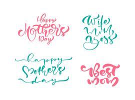 Conjunto de frases en el día de la madre feliz. Vector de texto de caligrafía de letras. Citas dibujadas mano moderna de la vendimia. La mejor mamá nunca ilustración