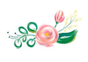 Cute spring Watercolor Vector Flower bouquet. Art isolated illustration for wedding or holiday design, Hand drawn paint roses