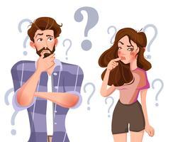 La gente con l'illustrazione di vettore dei punti interrogativi.