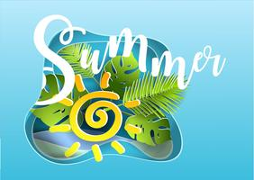 Vector summer poster. Paper cut style.