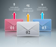 Envelop, e-mail, e-mailpictogram. Abstracte 3D-infographic.