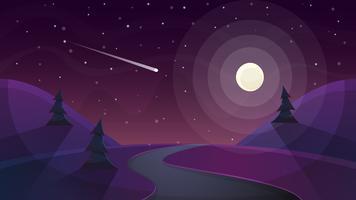 Viaggia notte paesaggio dei cartoni animati. Abete, cometa, stella, luna, strada ammalata