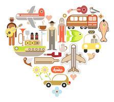 Reizen pictogrammen hart vorm vector ontwerp