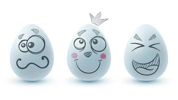 Happy easter. Three egg on the white background.