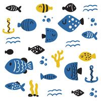 fish character vector design