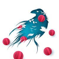 Pappersraven illustration. Gren, löv, fågel.