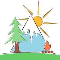 Paisaje de papel de dibujos animados. Árbol, montaña, ilustración fuego.