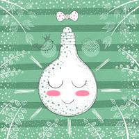 Cute princess bulb - cartoon illustration