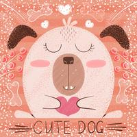 Cute cartoon dog - funny illustration.
