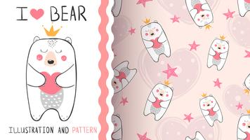 Little bear principessa - seamless pattern