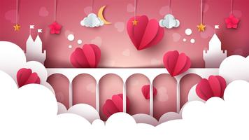Fantasy cartoon landscape. Castle, heart, love illustration.