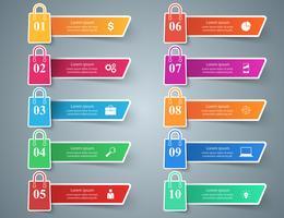 Business, shop, cart - ten paper infographic.