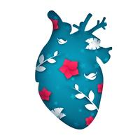 Cartoon paper heart illustration. Flower, branch, leaf.
