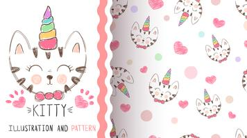 Cute kitty, unicorn - seamless pattern