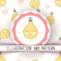Cute princess bulb - seamless pattern