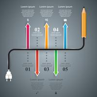 Pencil, bulb - business, education infographic.