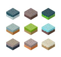 A set of isometric terrain vector