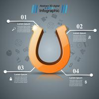 Horseshoe, four line - business infographic. vector