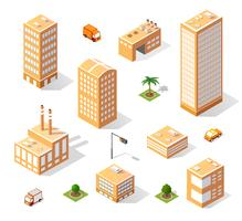 Set of isometric skyscrapers