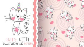 Carino unicorno kitty - seamless.