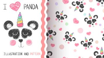 Cute panda, unicorn - seamless pattern.