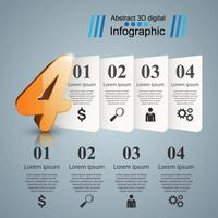 Abstrakt fyra 3D digital illustration Infographic.