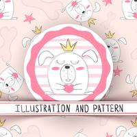 Cute cartoon dog - seamless pattern