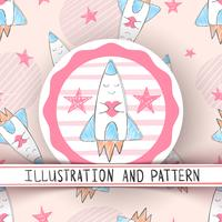Cute rocket illustration - seamless pattern