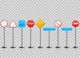 Set realistic road sign. Stop, circle, triangle.