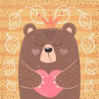 Cute princess bear - cartoon illustration.