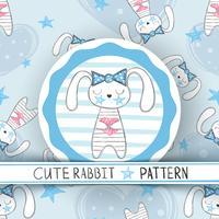 Carino seamless pattern - cartone animato di coniglio.