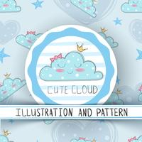 Princess cute cloud - seamless pattern