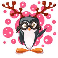 Pinguim, veado - personagens engraçados dos desenhos animados.