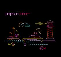 Ships in Port vector illustration