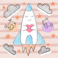 Leuke raket - cartoon baby illustratie.