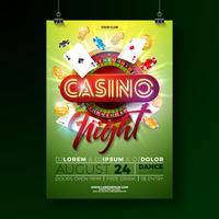 Vector Casino night flyer illustration with gambling design elements and shiny neon light lettering on green background.