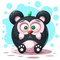 Cute, funny - cartoon panda character.
