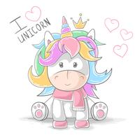 Cute teddy unicorn - cartoon characters.