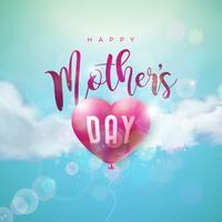 Happy Mothers Day Greeting card design with air balloon heart and typography letter