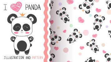 Netter Prinzessinpanda - nahtloses Muster