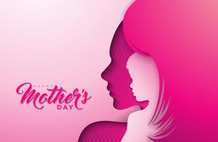 Happy Mothers Day Greeting card design with woman and child face silhouette vector