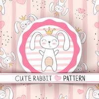 Leuk naadloos patroon - konijnbeeldverhaal.