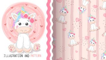 Cute magic unicorn - seamless pattern