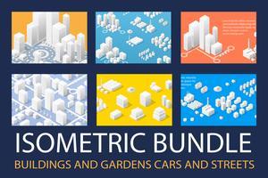 Conjunto isométrico 3D para diseño.