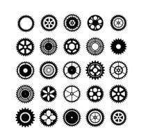 Set of silhouettes gears